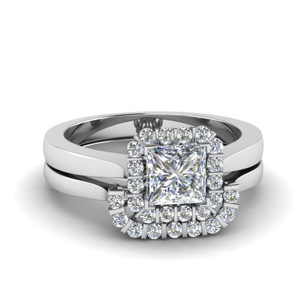 Princess Cut Floating Halo Diamond Wedding Ring Set In 14k White