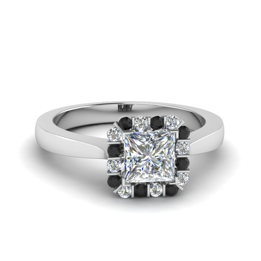 princess cut floating halo engagement ring with black diamond in FDENS3257PRRGBLACK NL WG