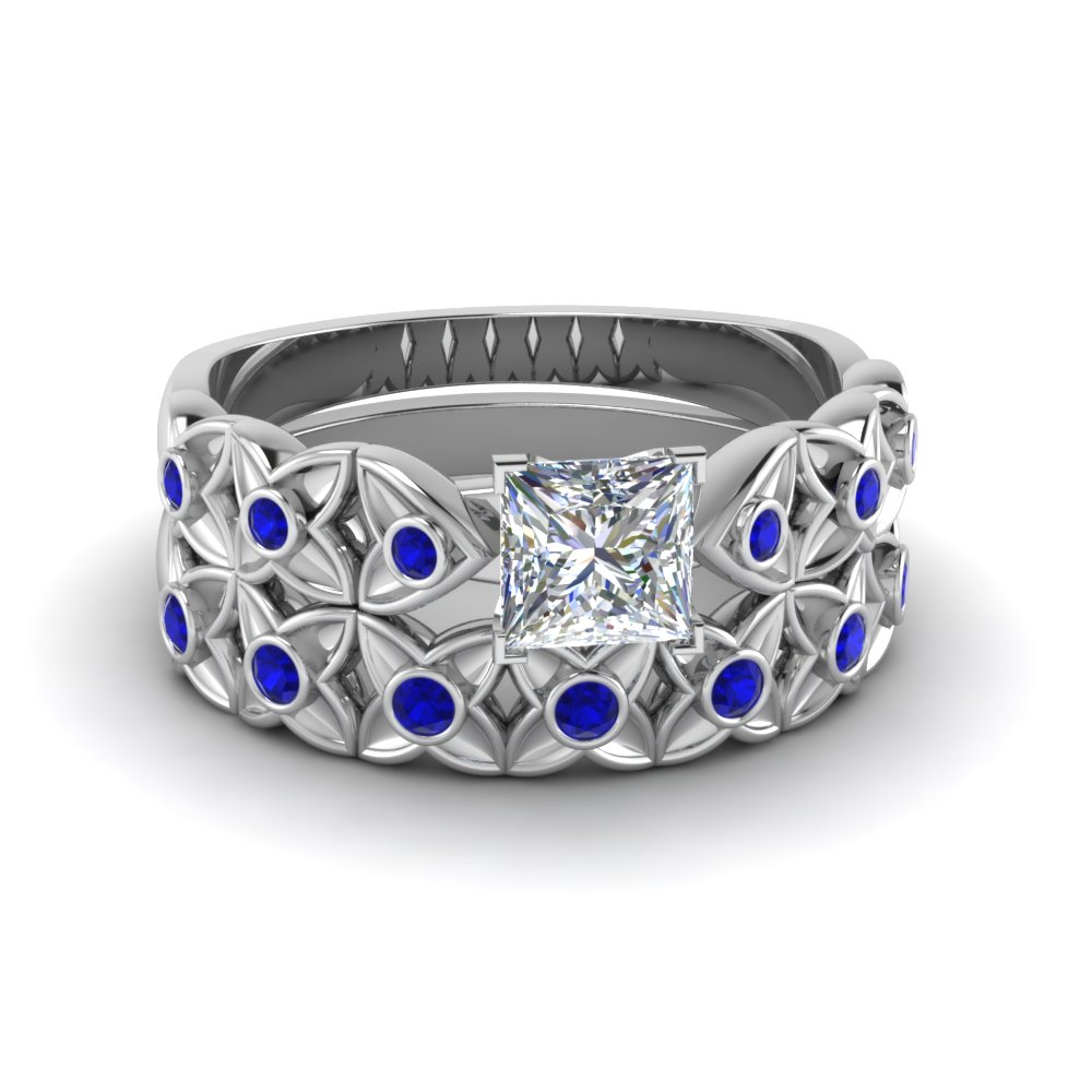 Princess Cut Floral Bezel Set
