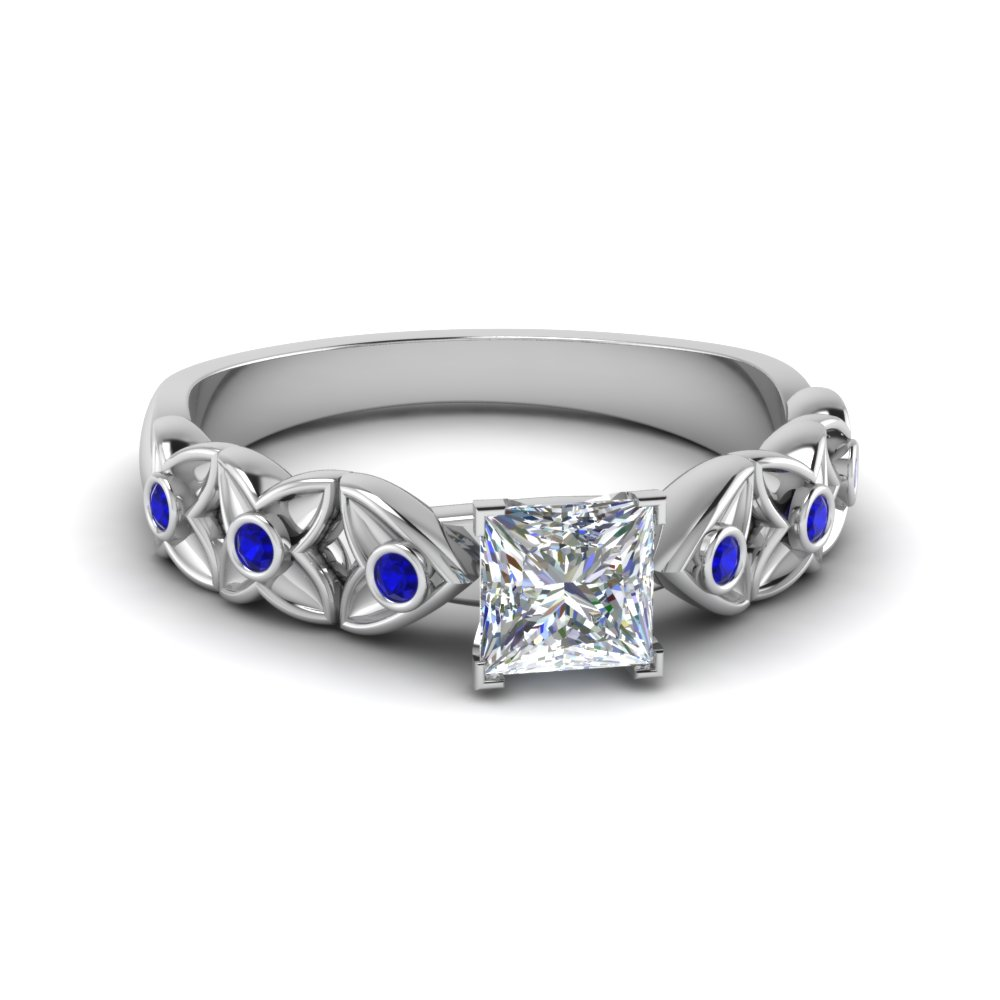 princess cut diamond floral accent sapphire engagement ring in FD121955PRRGSABL NL WG