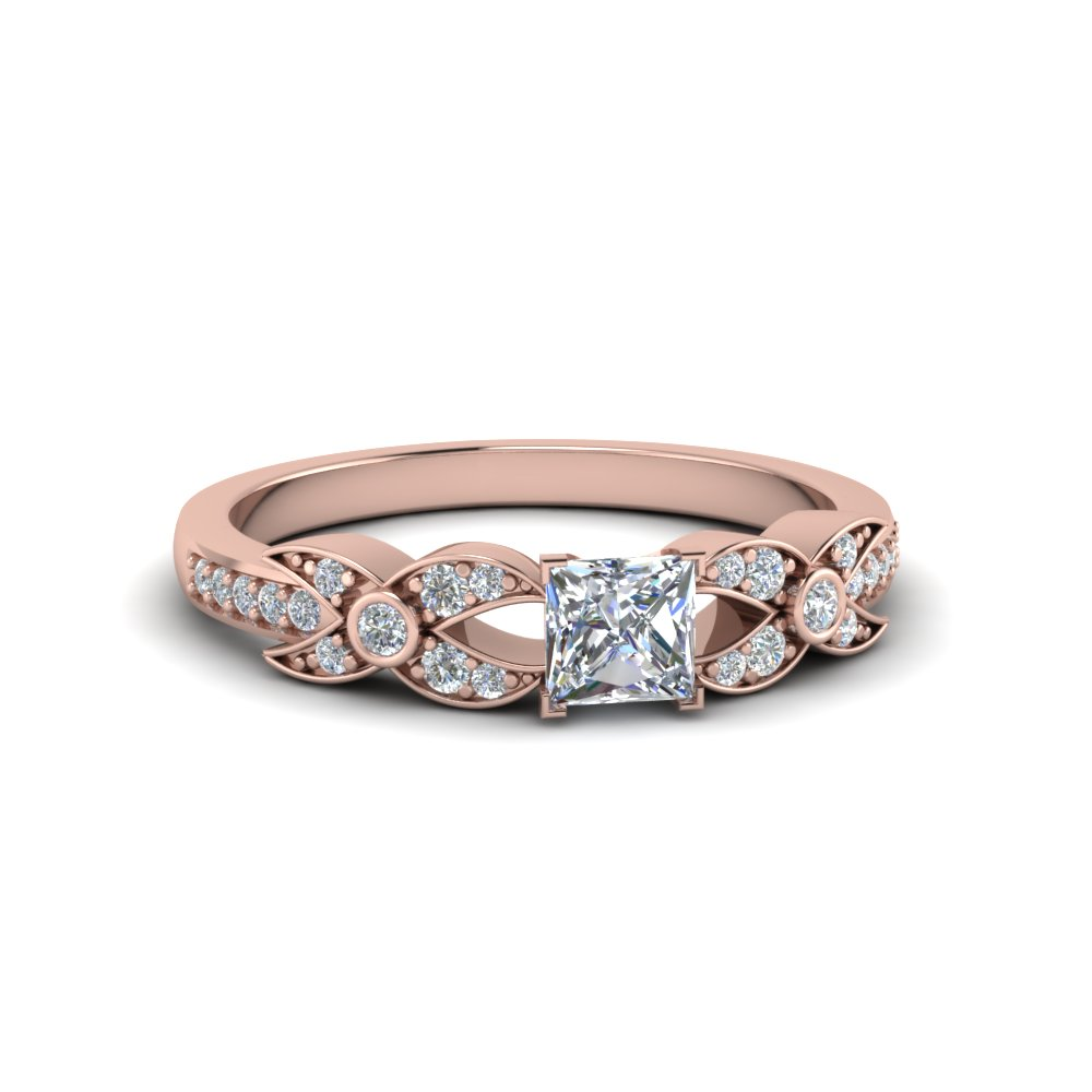 princess cut flower pave diamond ring in 14K rose gold FDENS3322PRR NL RG