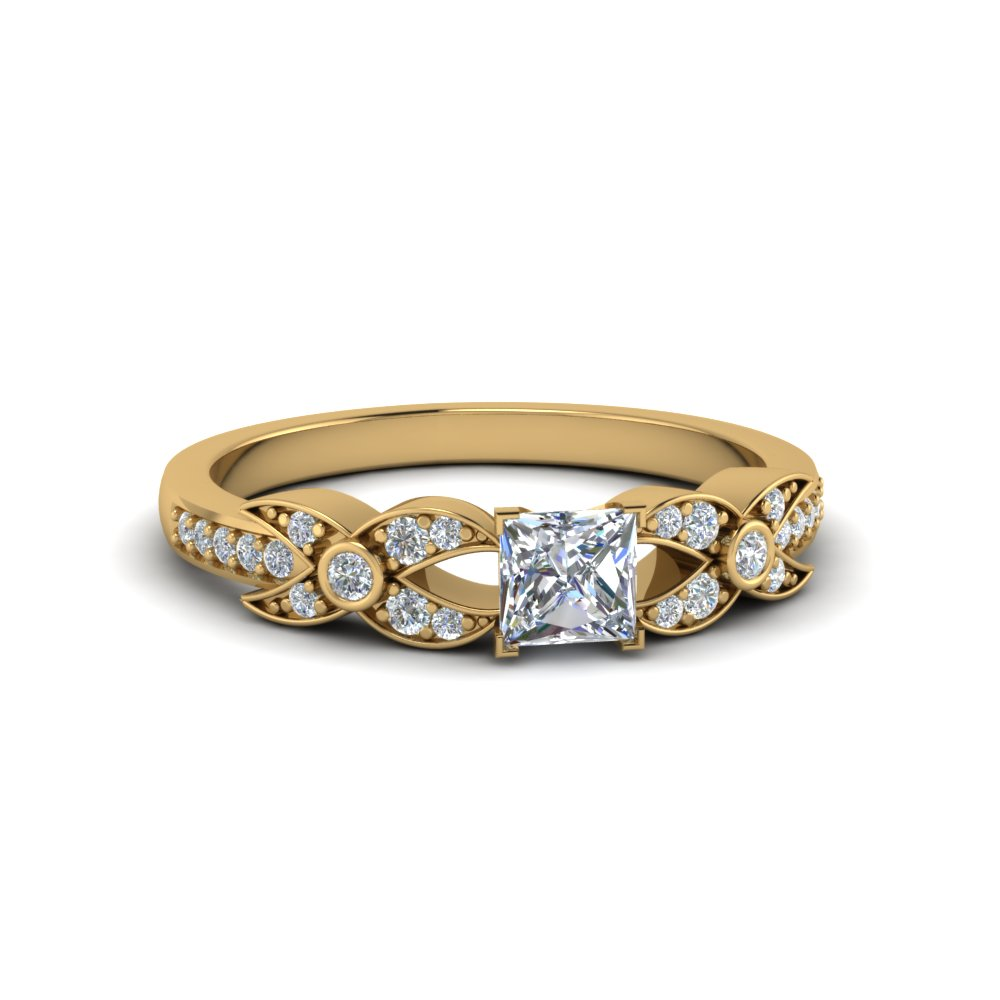 princess cut flower pave diamond ring in 14K yellow gold FDENS3322PRR NL YG
