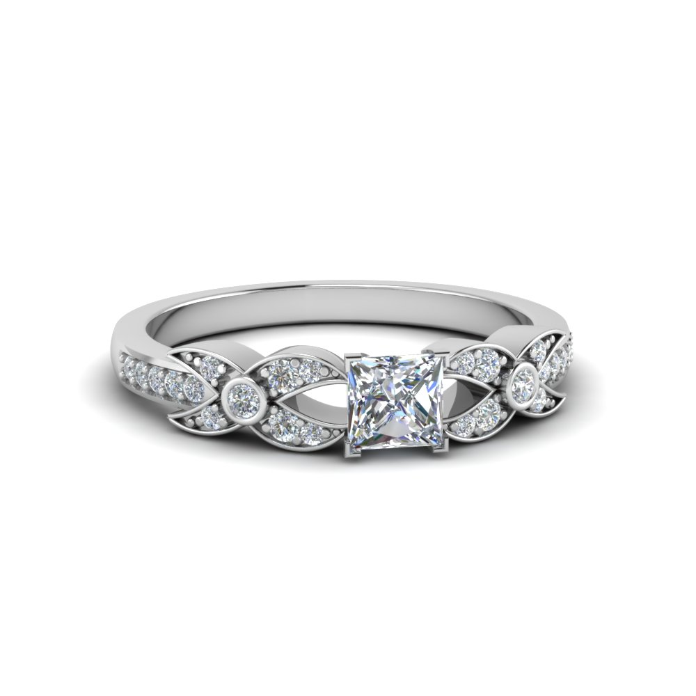 princess cut flower pave diamond ring in 18K white gold FDENS3322PRR NL WG