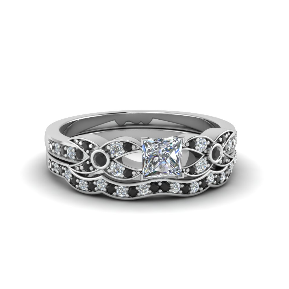 princess cut flower pave wedding ring set with black diamond in 950 Platinum FDENS3322PRGBLACK NL WG