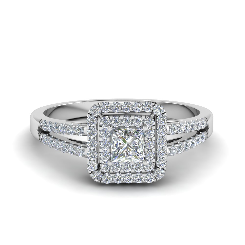 Princess cut french pave double halo diamond engagement for Double band diamond wedding ring