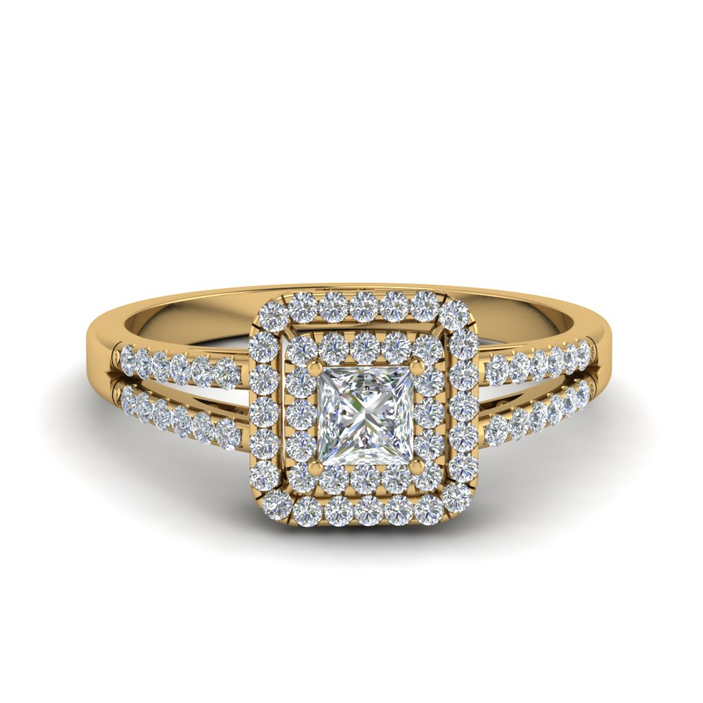 Princess Cut French Pave Double Halo Diamond Engagement Ring In 18K Yellow Go