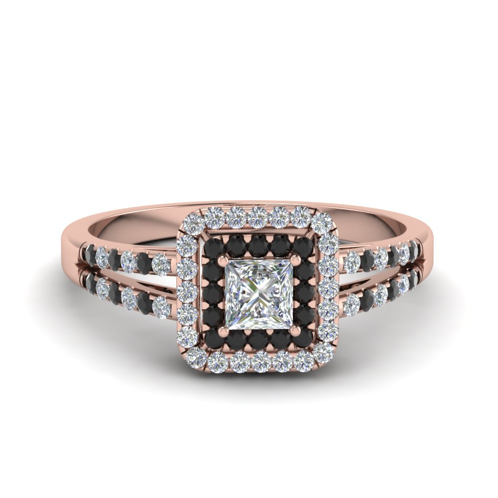 Rose Gold Black Diamond Halo Rings