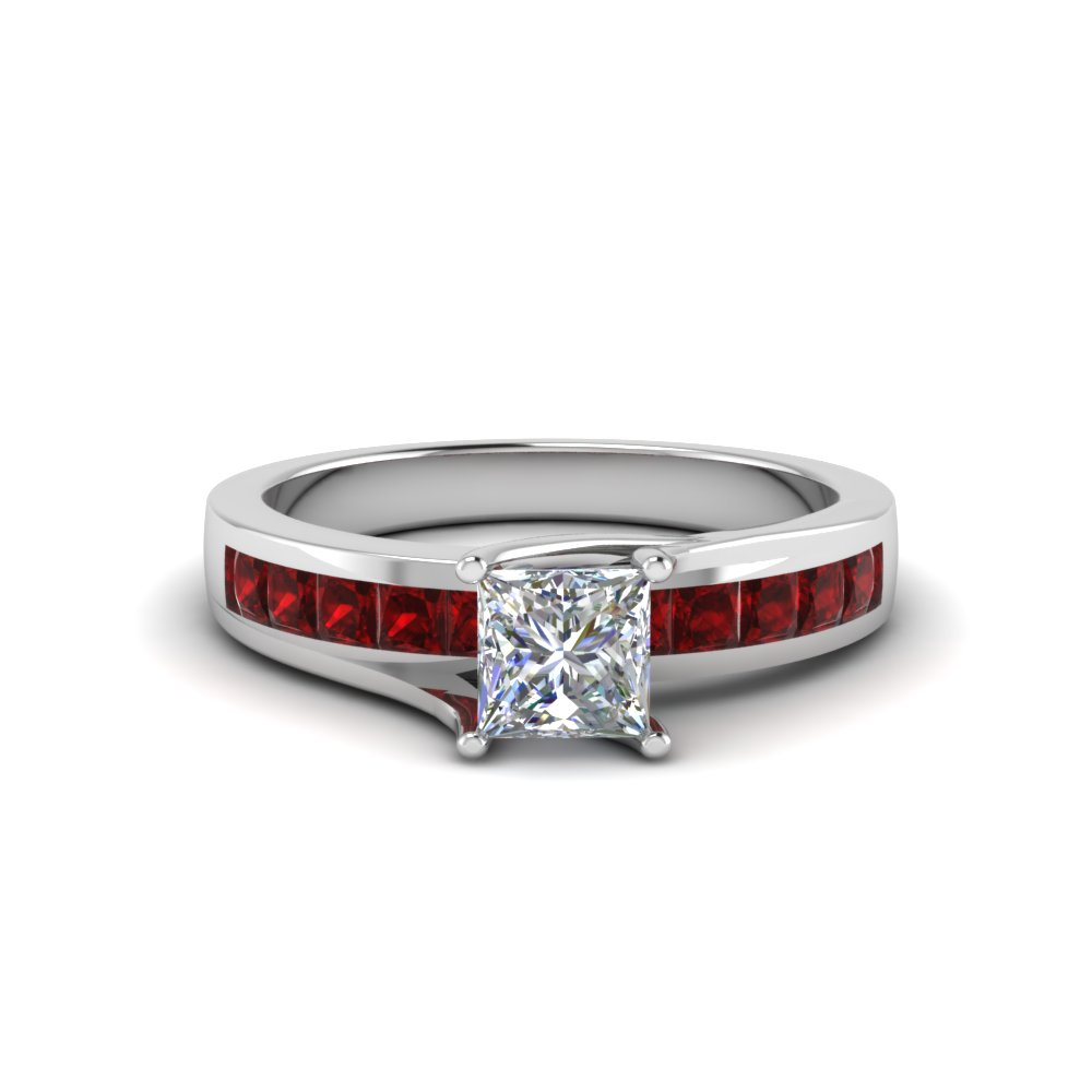 princess cut gemstone engagement diamond ring with ruby in FDENR7776PRRGRUDR NL WG GS