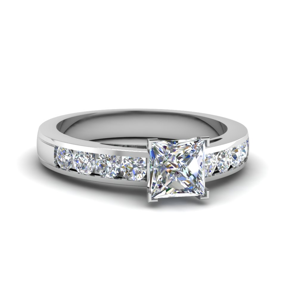 timeless channel princess cut diamond engagement ring in. Black Bedroom Furniture Sets. Home Design Ideas