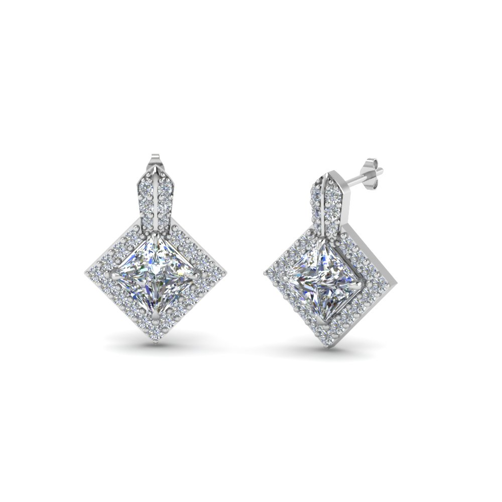 Princess Cut Halo Diamond Earrings For Her