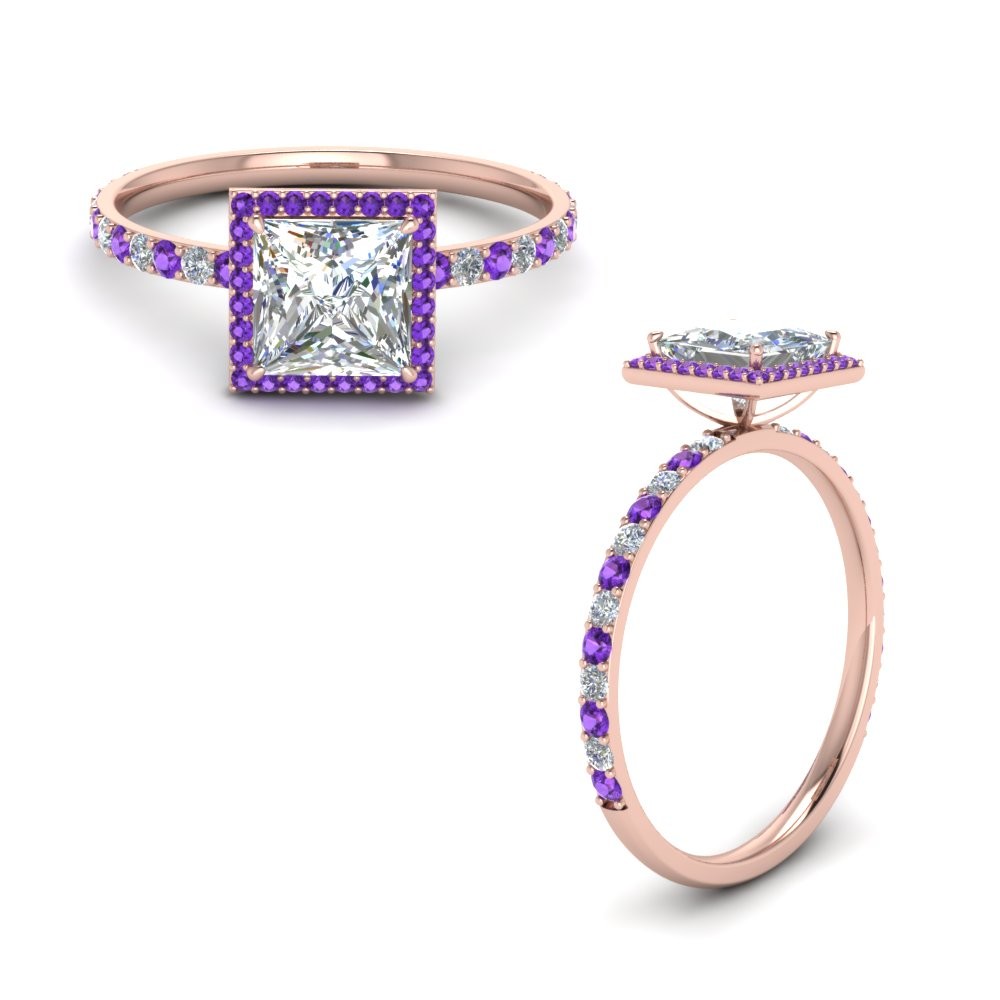 Princess Cut Violet Topaz Halo Rings
