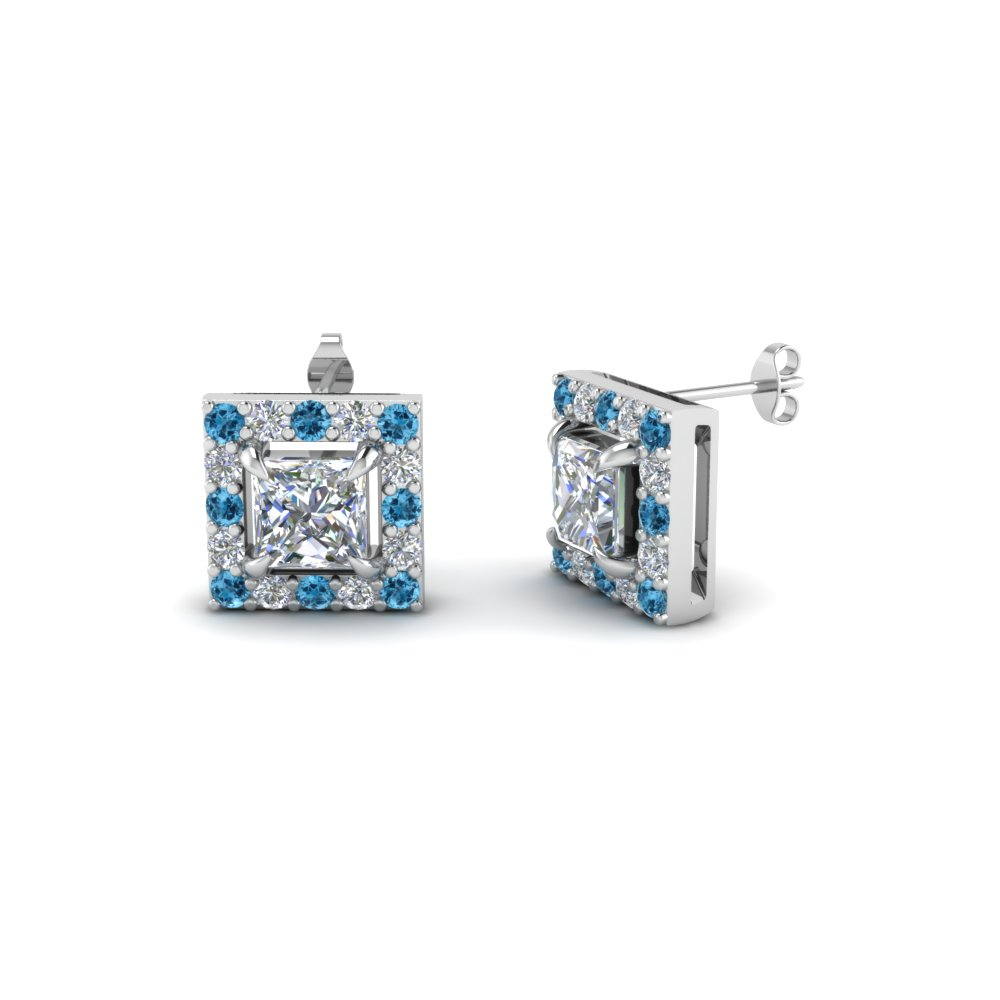 princess cut halo diamond stud earring with ice topaz in 14K white gold FDEAR1186PRGICBLTO NL WG