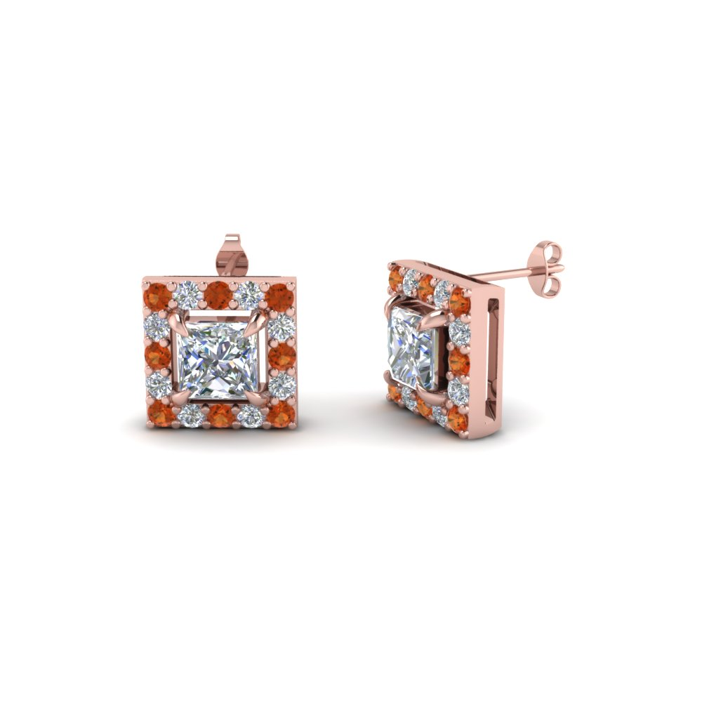 princess cut halo diamond stud earring with orange sapphire in 18K rose gold FDEAR1186PRGSAOR NL RG