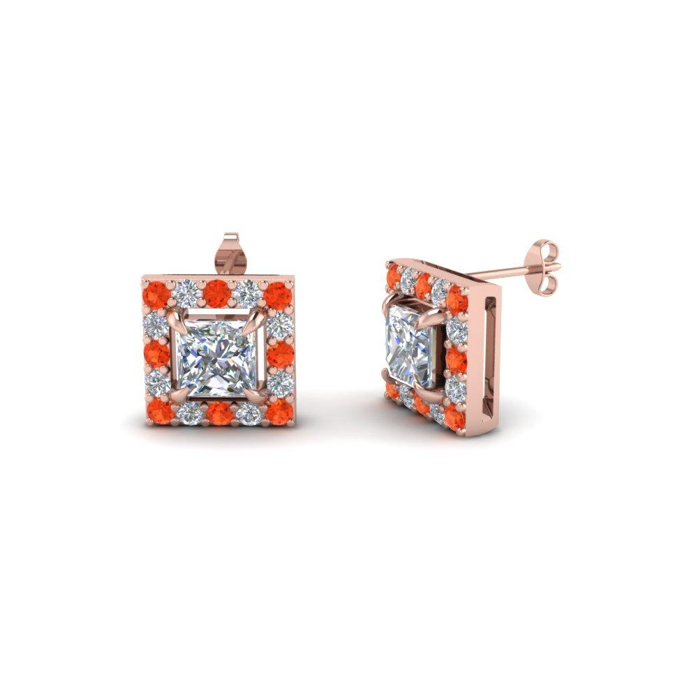 princess cut halo diamond stud earring with orange topaz in 18K rose gold FDEAR1186PRGPOTO NL RG