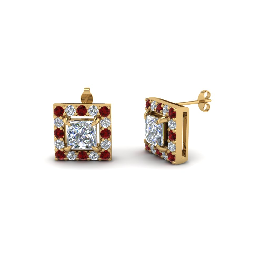 princess cut halo diamond stud earring with ruby in 18K yellow gold FDEAR1186PRGRUDR NL YG