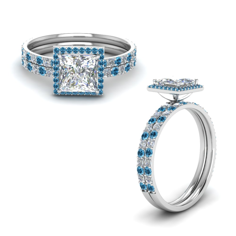 Platinum Blue Topaz Halo Bridal Set