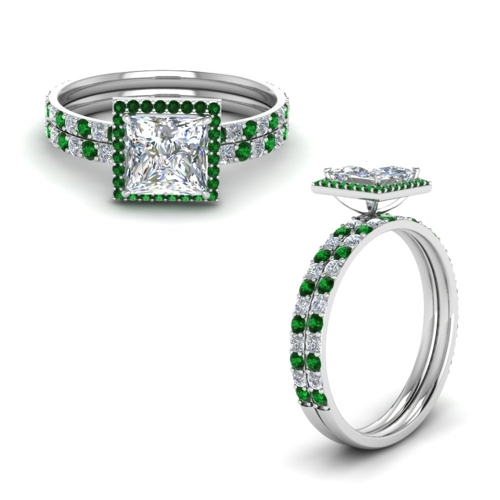 Princess Halo Bridal Set With Emerald