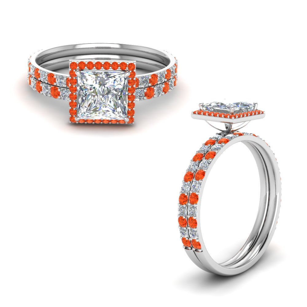 Wedding Set With Orange Topaz Halo