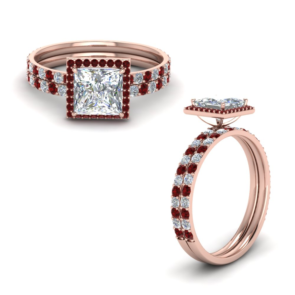Square Halo Ruby Wedding Set