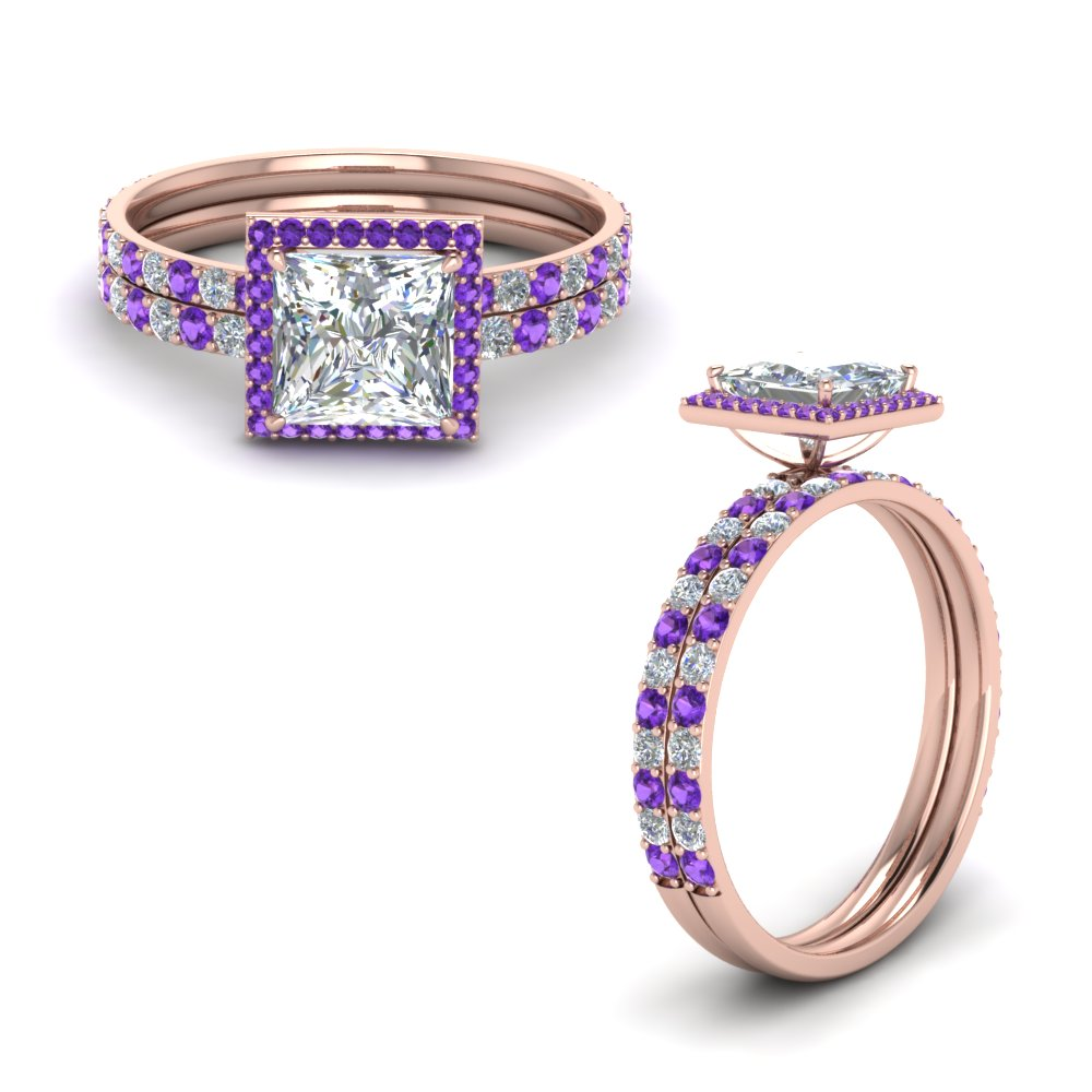 Purple Topaz Square Halo Ring Set
