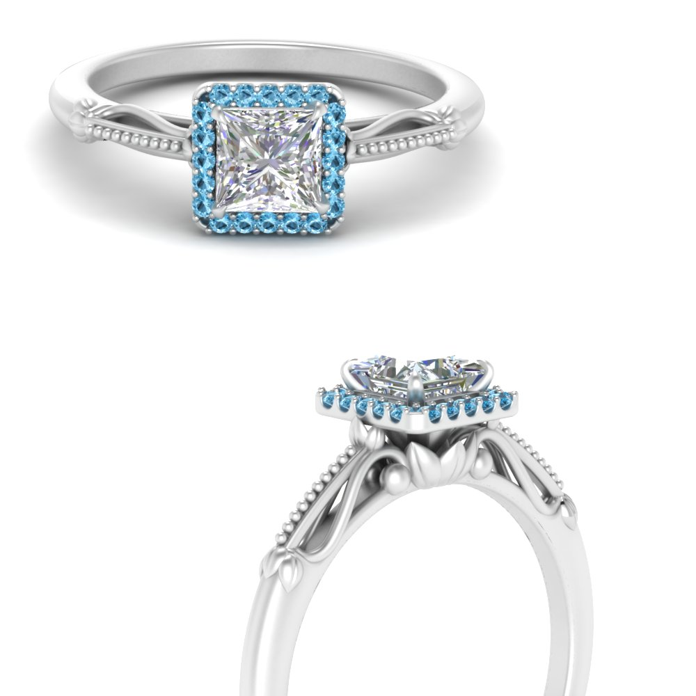 princess cut halo floral shank blue topaz engagement ring in white gold FD124330PRRGICBLTOANGLE3 NL WG
