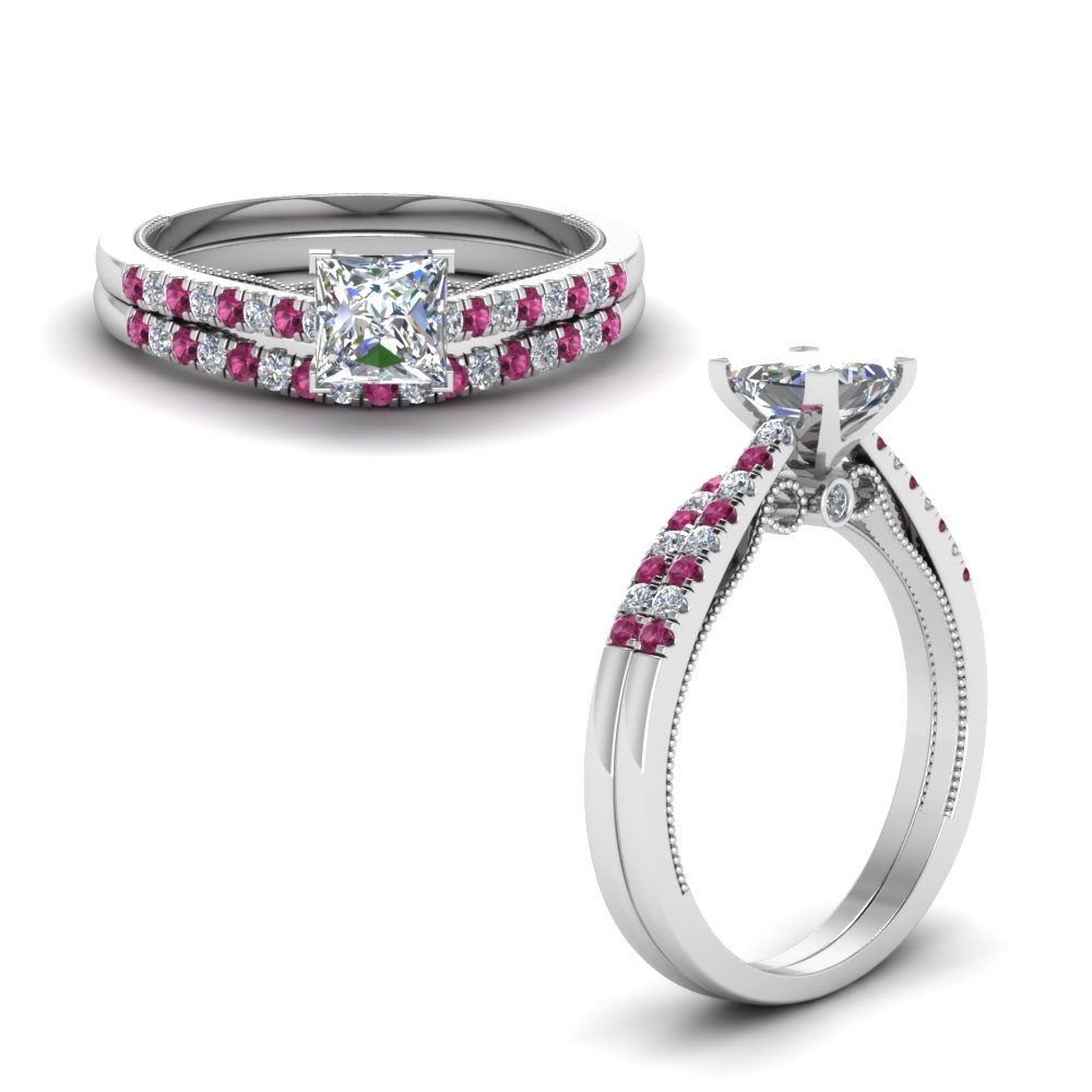 princess cut high set milgrain moissanite wedding ring set with pink sapphire in FDO50845PRGSADRPIANGLE1 NL WG