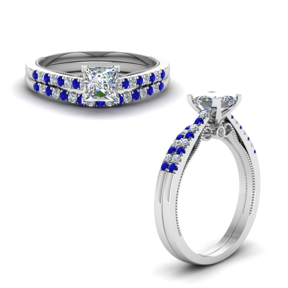 Platinum princess cut bezel blue sapphire wedding sets for Blue sapphire wedding ring set