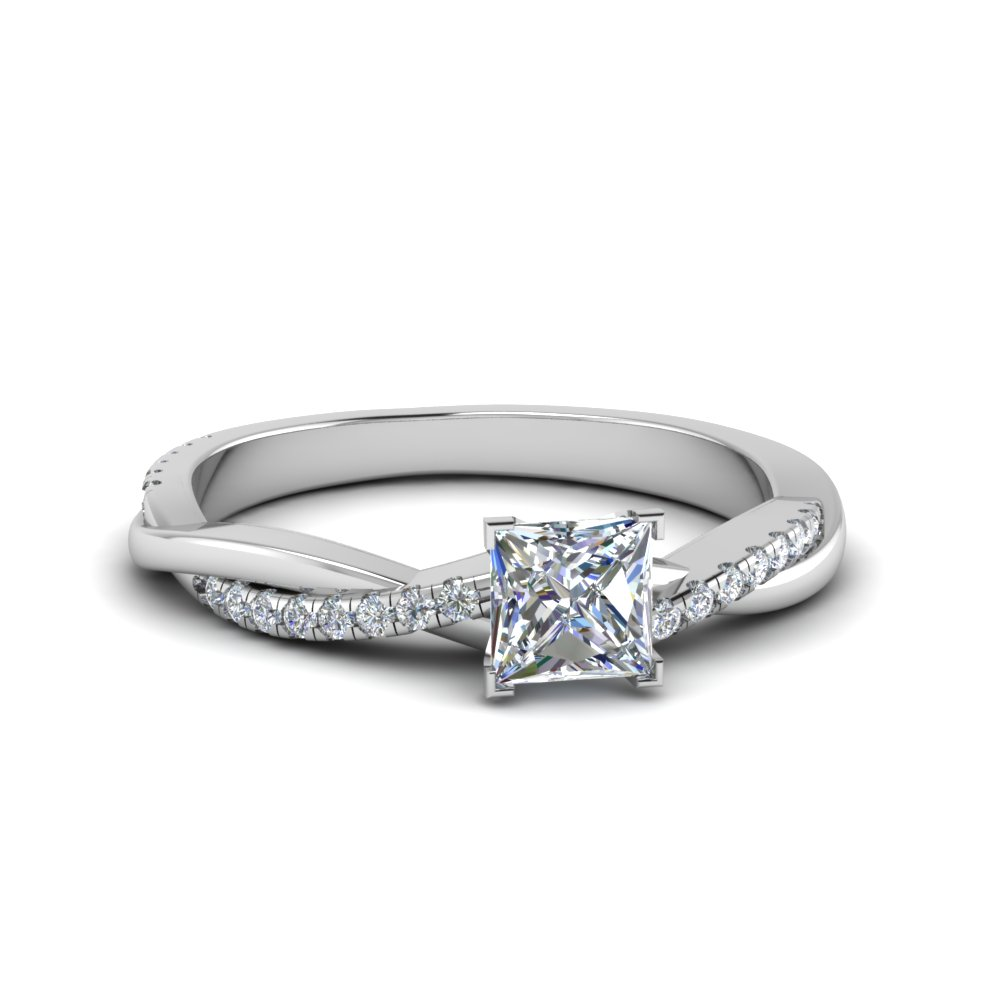 princess cut Infinity twist diamond engagement ring in 14K white gold FD8253PRR NL WG