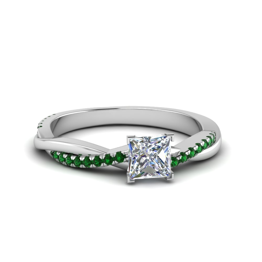 Princess Cut Emerald Side Stone Rings