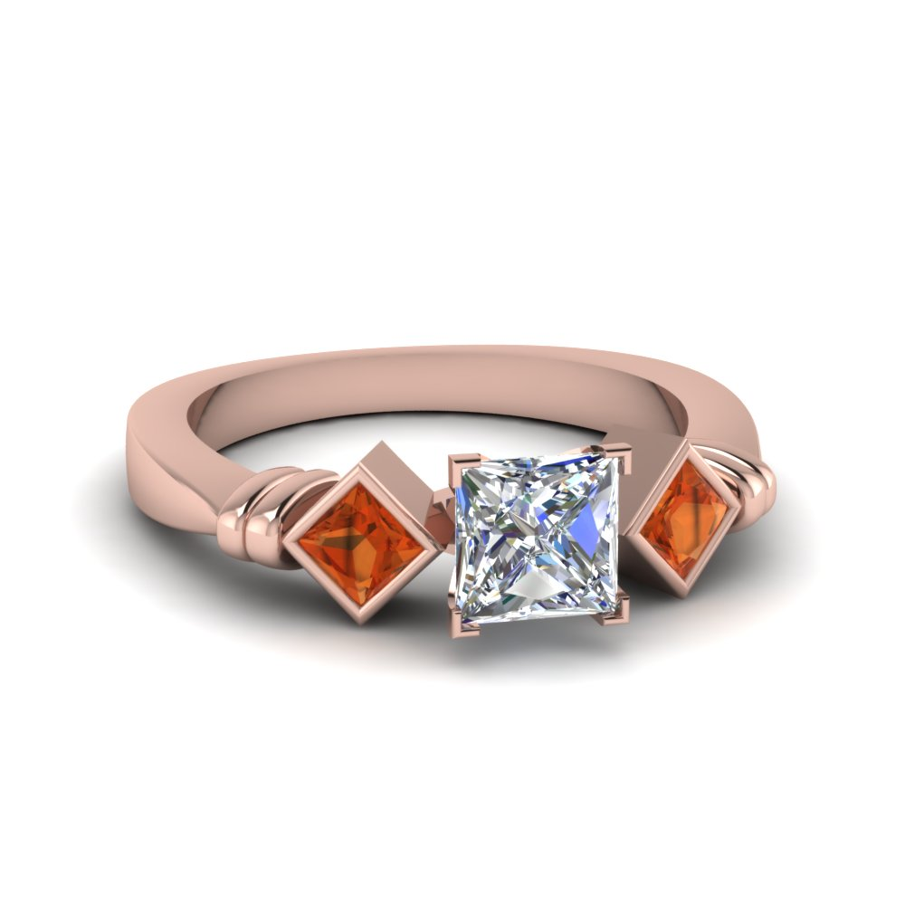 princess cut kite set 3 diamond engagement ring with orange sapphire in FDENR1414PRRGSARO NL RG