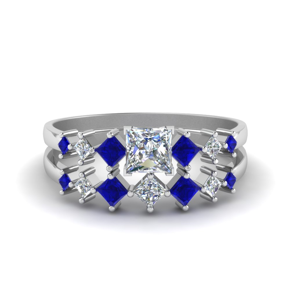 princess cut kite set diamond bridal set with blue sapphire in FDENS3126PRGSABL NL WG