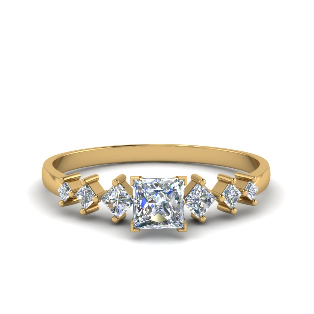 Princess Cut Kite Set Ring
