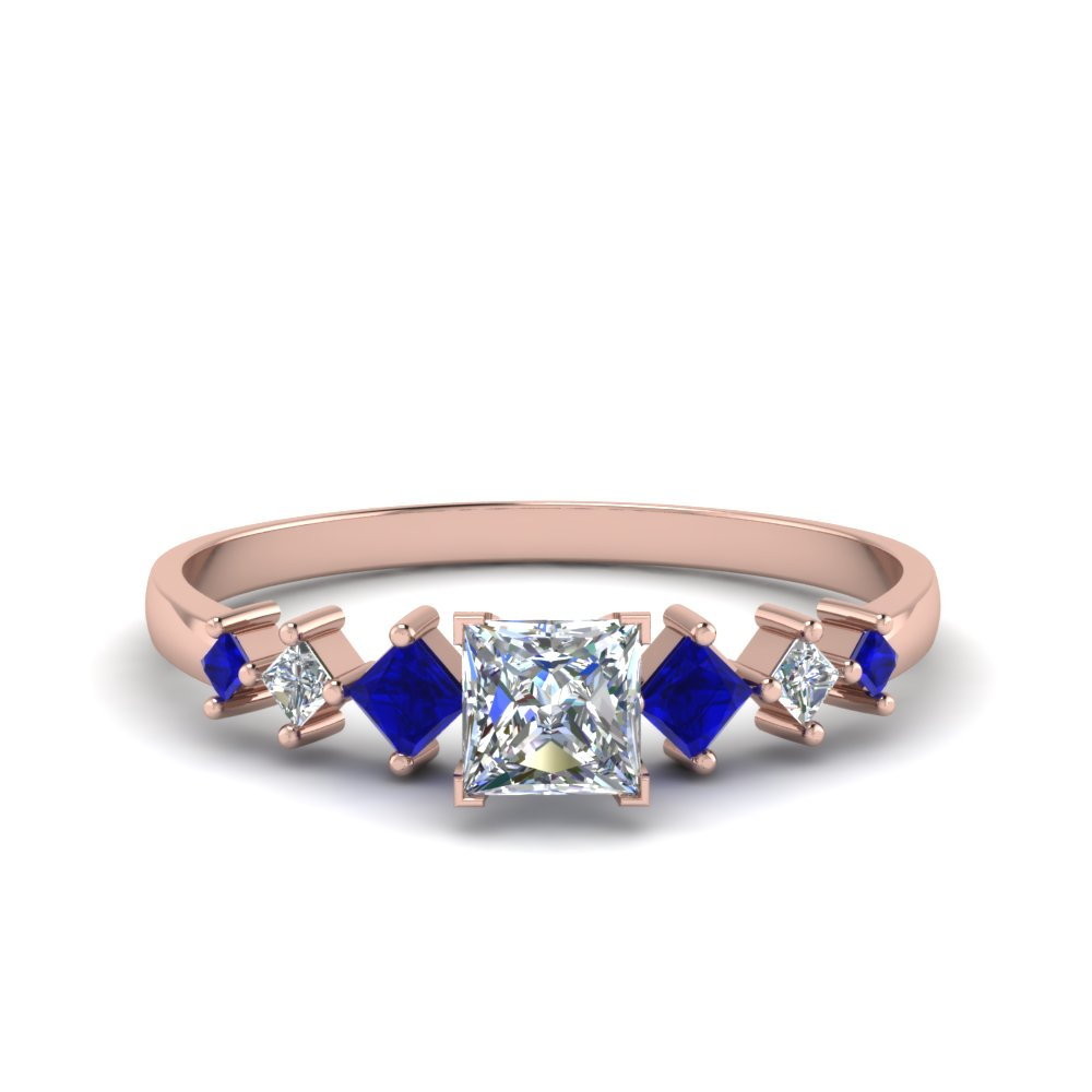 princess cut kite set diamond ring with sapphire in 14K rose gold FDENS3126PRRGSABL NL RG