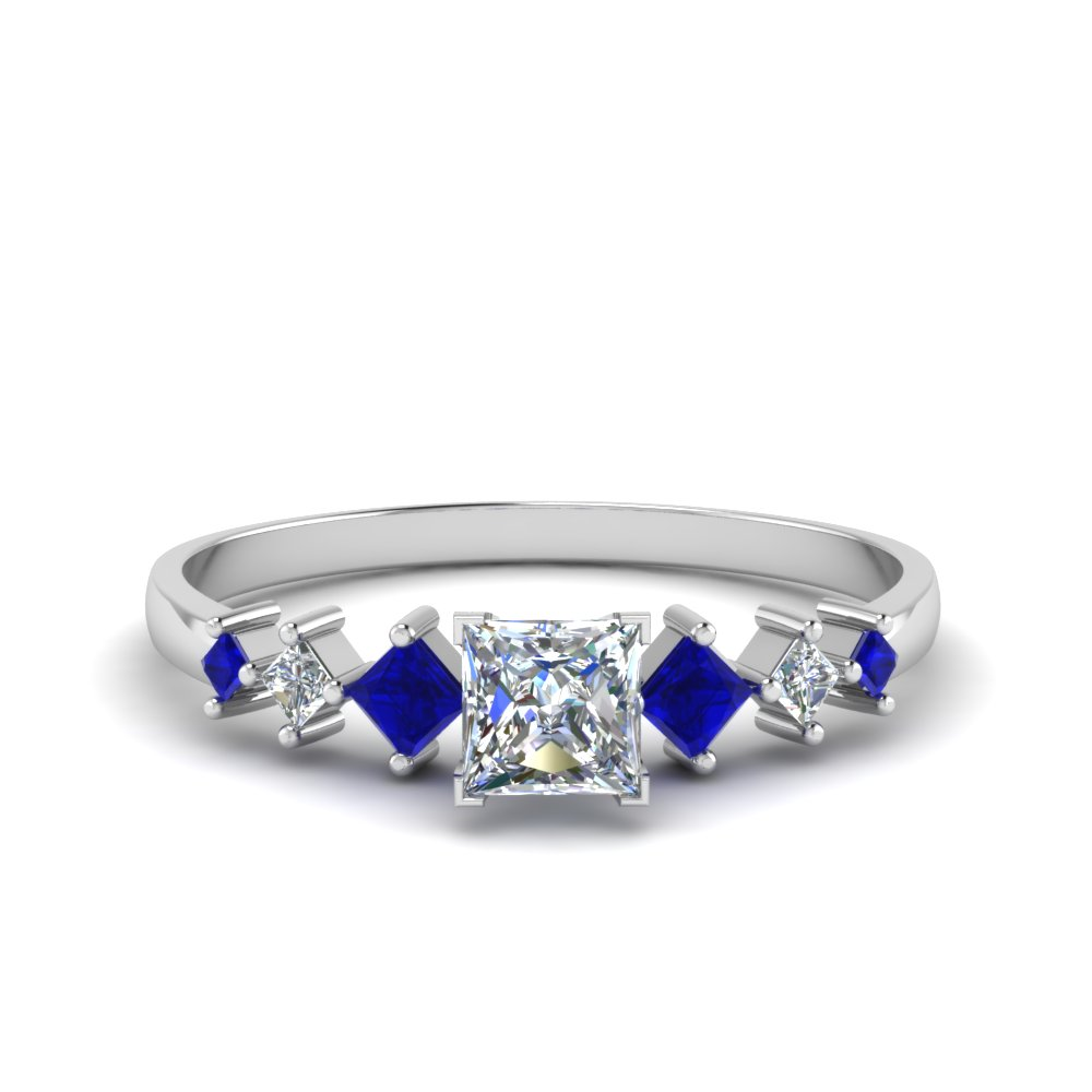 princess cut kite set diamond ring with blue sapphire in 14K white gold FDENS3126PRRGSABL NL WG