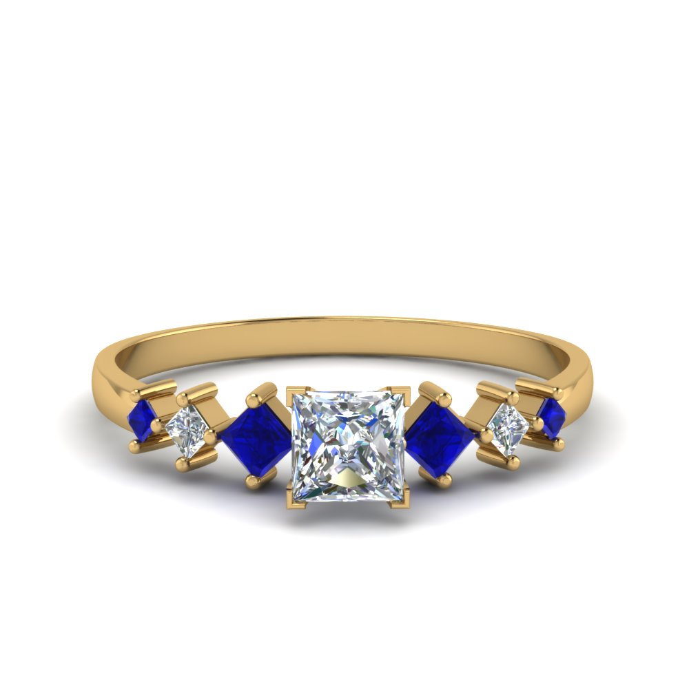 princess cut kite set diamond ring with blue sapphire in 14K yellow gold FDENS3126PRRGSABL NL YG
