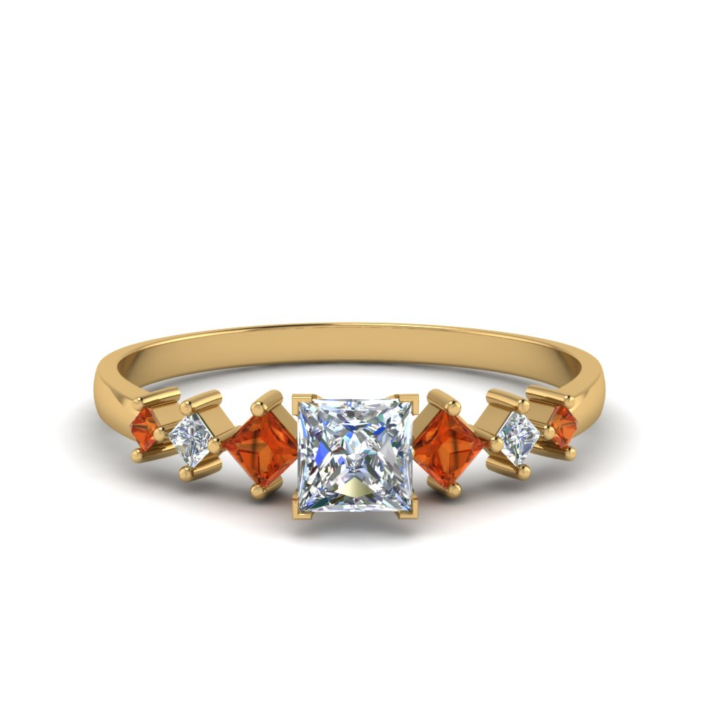 princess cut kite set diamond ring with orange sapphire in 14K yellow gold FDENS3126PRRGSAOR NL YG