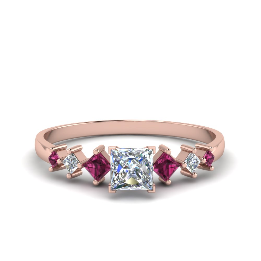 princess cut kite set diamond ring with pink sapphire in FDENS3126PRRGSADRPI NL RG