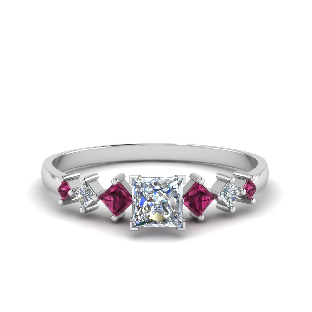 princess cut kite set diamond ring with pink sapphire in 14K white gold FDENS3126PRRGSADRPI NL WG