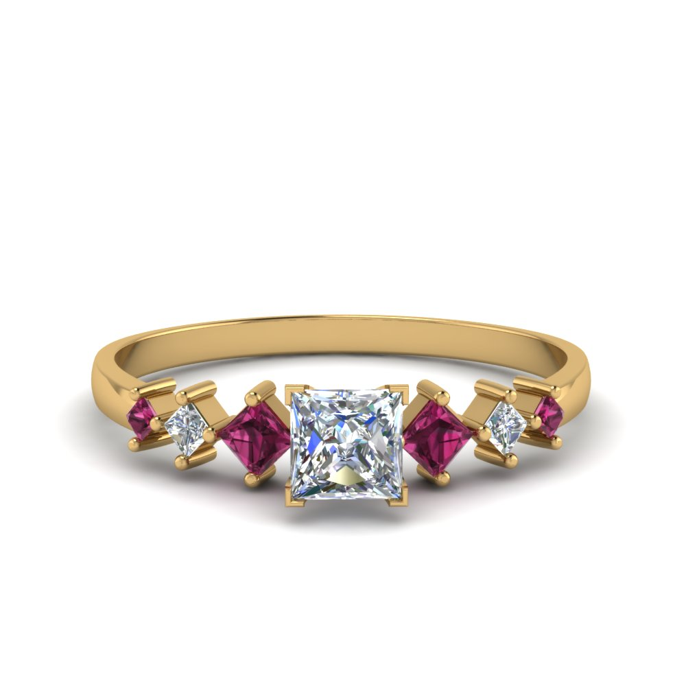 princess cut kite set diamond ring with pink sapphire in 14K yellow gold FDENS3126PRRGSADRPI NL YG