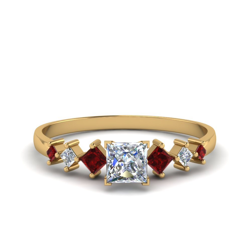 princess cut kite set diamond ring with ruby in 14K yellow gold FDENS3126PRRGRUDR NL YG
