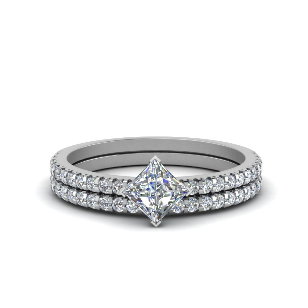 Princess Cut Diamond Engagement Ring Set