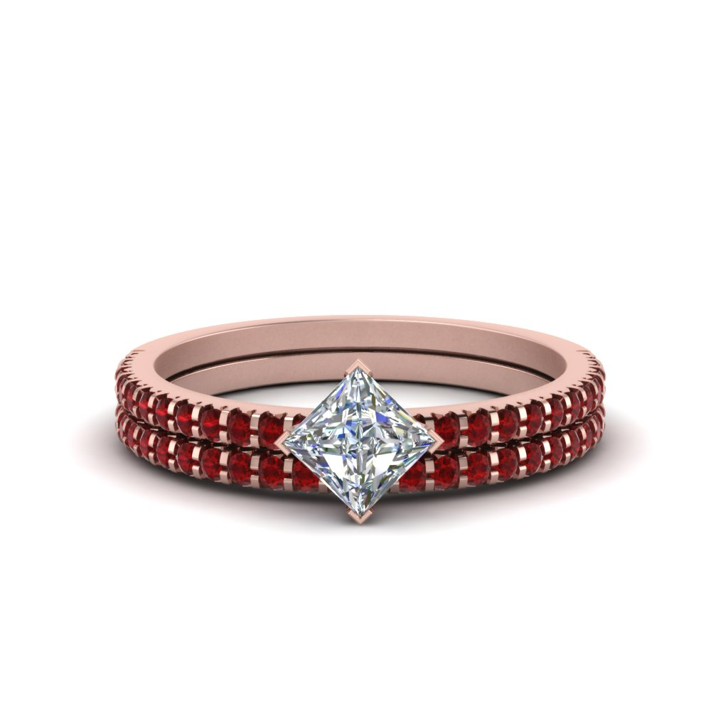 Kite Set Ruby Wedding Ring Set