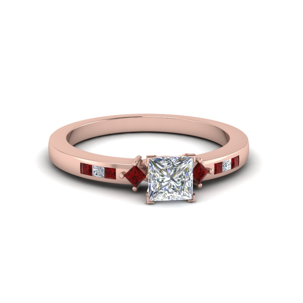 princess cut kite style channel set accent diamond engagement ring with ruby in 14K rose gold FDENS3121PRRGRUDR NL RG