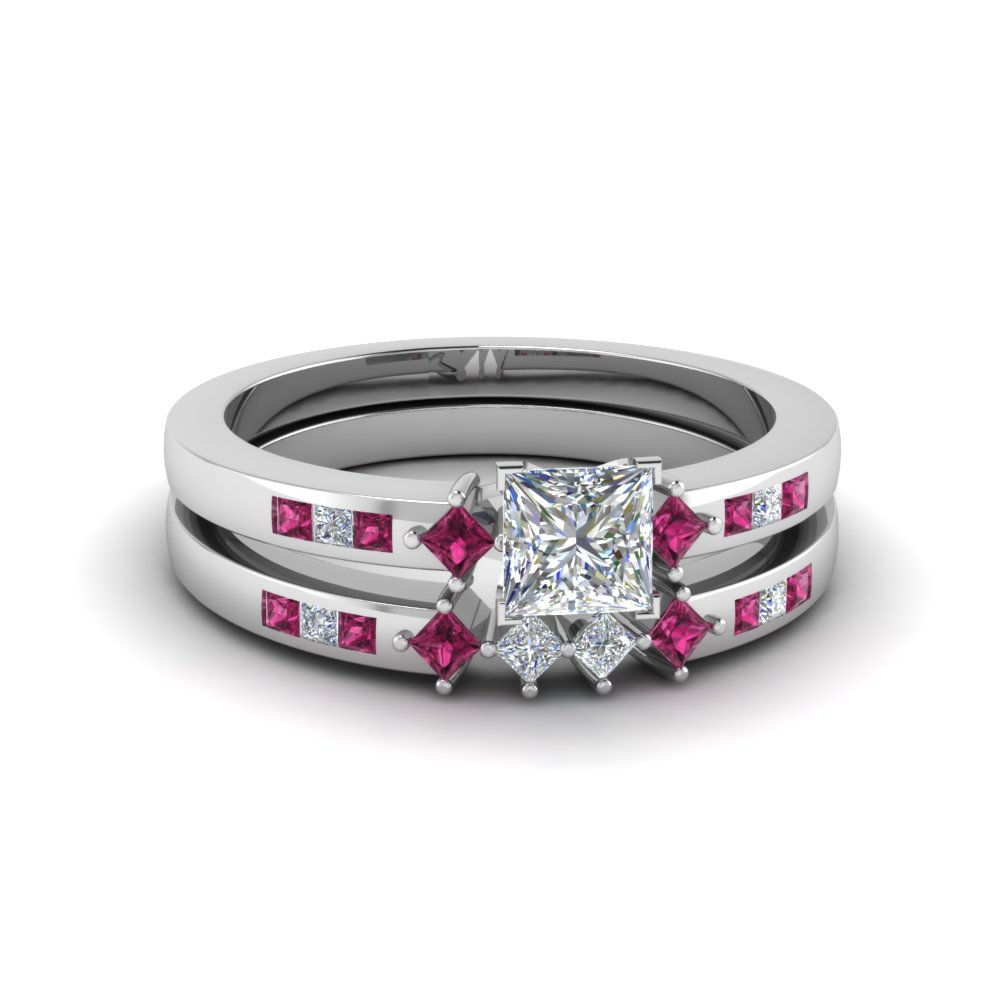 princess cut kite style channel set accent diamond wedding ring set with pink sapphire in fdens3121prgsadrpi