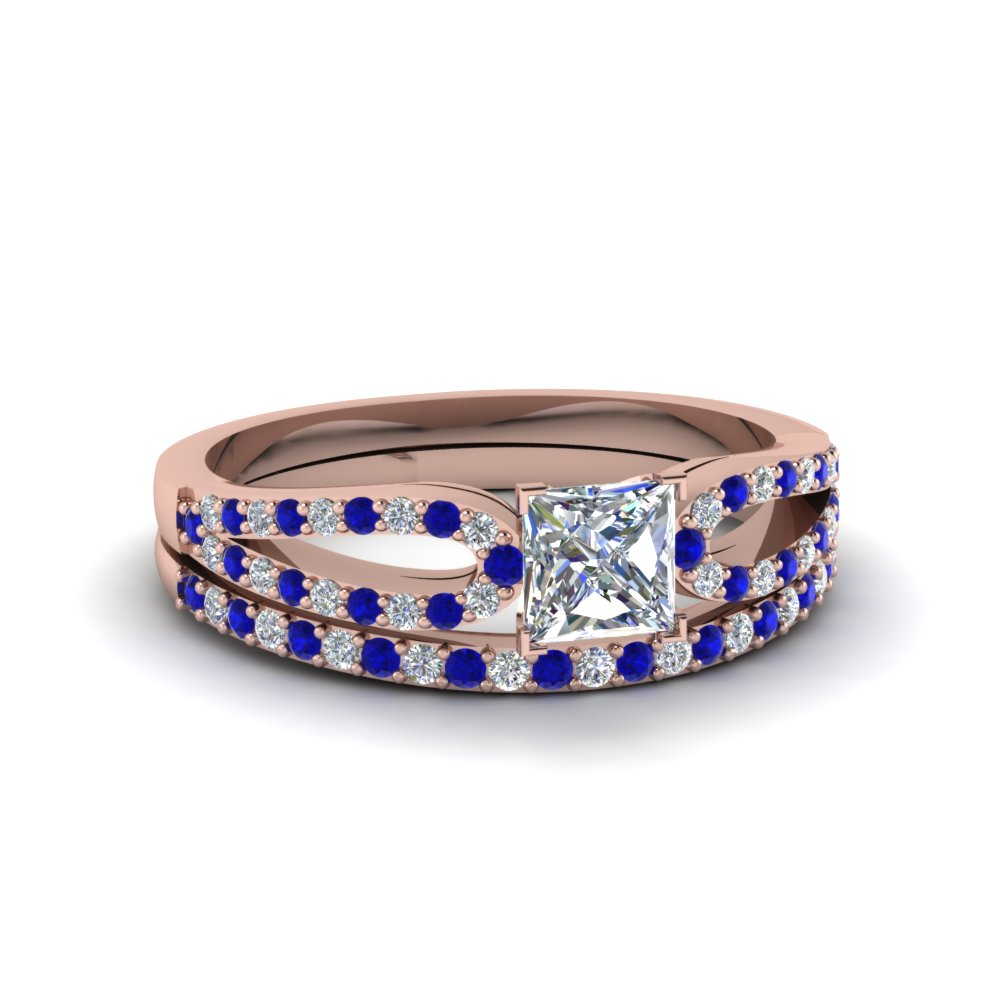 princess cut loop diamond ring with sapphire matching band in 14K rose gold FDENS3323PRGSABL NL RG