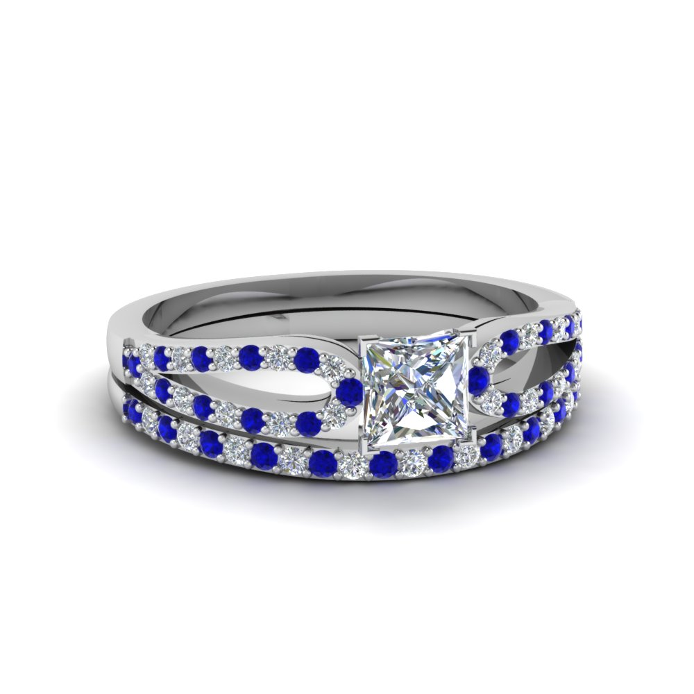princess cut loop diamond ring with sapphire matching band in 14K white gold FDENS3323PRGSABL NL WG
