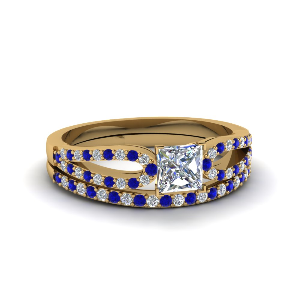 princess cut loop diamond ring with sapphire matching band in 18K yellow gold FDENS3323PRGSABL NL YG