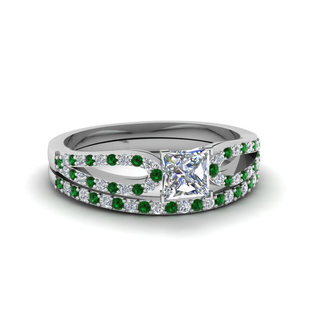 princess cut loop diamond ring with emerald matching band in 14K white gold FDENS3323PRGEMGR NL WG