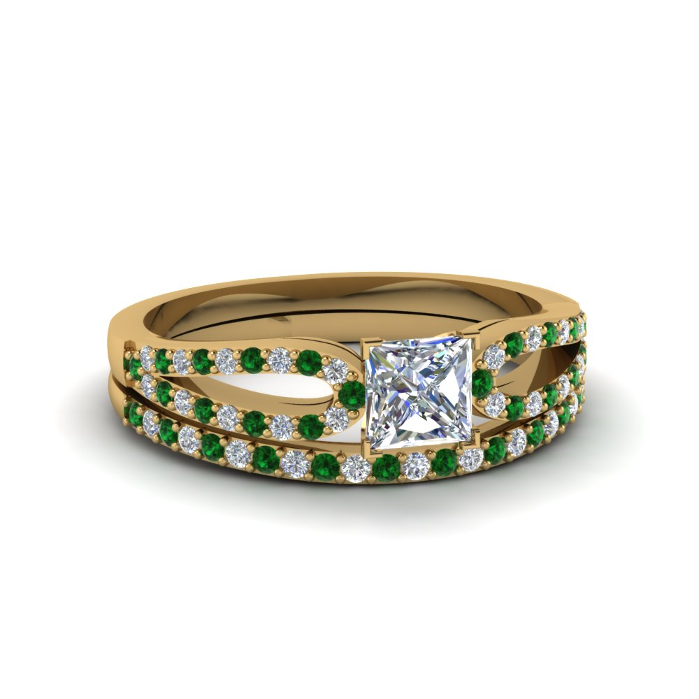 princess cut loop diamond ring with emerald matching band in 14K yellow gold FDENS3323PRGEMGR NL YG