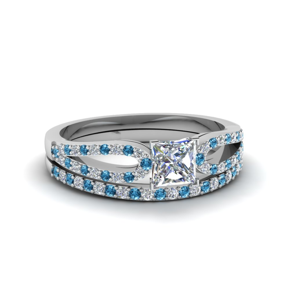 princess cut loop diamond ring with blue topaz matching band in 14K white gold FDENS3323PRGICBLTO NL WG